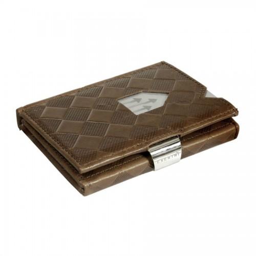 Portofel Slim Barbati Exentri, Piele, Protectie RFID, Hazelnut Chess